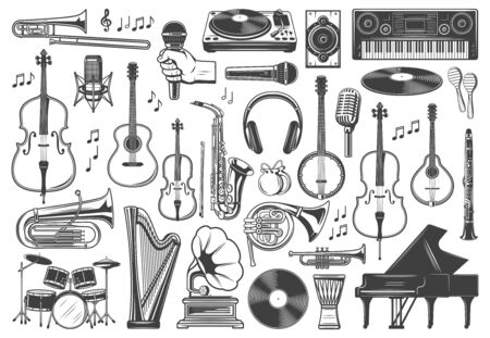 Musical instrument icons, jazz and orchestra music. Vector recording studio synthesizer equipment, piano, guitar and drums, violin, saxophone, vinyl record gramophone, tuba and horn, clarinet and harp
