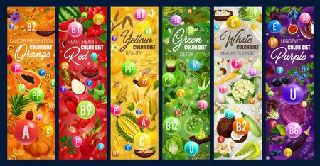 Color rainbow diet, healthy organic dietary food nutrition. Vector vegetables, fruits and berries, natural cereals and nuts, detoxification color diet for cancer prevention and immune system health Ilustracja