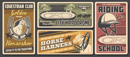 Jockey horse derby race, equestrian club and equine riding sport school. Vector equestrian sport, polo equipment, rider harness and whip, horse riding and golden horseshoe Illustration