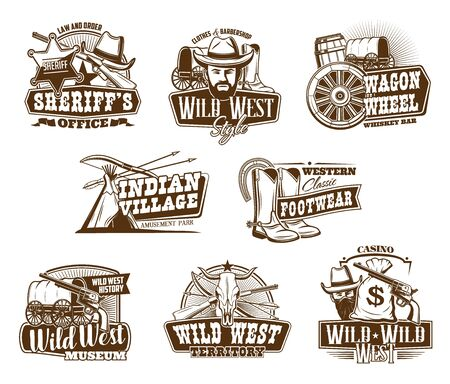 Western Texas cowboy and Wild West vintage icons. Vector clothes and barber shop sign, country ranch longhorn bull skull, sheriff star badge, cowboy hat and boots, bandit gun and money bag Ilustração