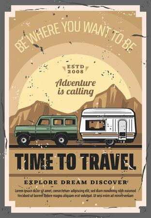 Car trailer travel, RV family camper caravan and camping adventure. Vector poster of road camp truck or motorhome in mountain park, extreme hiking and outdoor holiday vacation