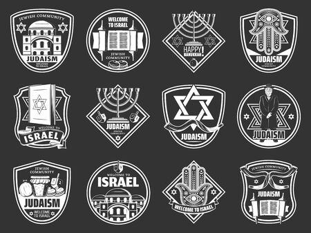 Israel travel and traditional Jewish heraldic symbols. Vector Judaism religion Happy Hanukkah Menorah, David star and Rabbi Torah, dreidel and synagogue, Hamsa hand and Shofar horn icons
