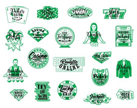 Casino poker and gambling games lettering icons. Vector symbols of croupier with wheel of fortune roulette, casino gamble chips and dices, poker Joker card and money, lucky seven and horseshoe Illustration