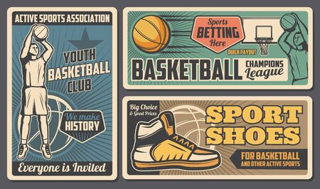 Basketball youth club, league and betting payout. Vector retro style team streetball player, basketball sport equipment and footwear shoes store, tournament and training Vettoriali