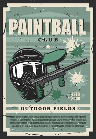 Paintball club shooting equipment, vector. Sport game, paint ball gun and protective tinted mask surrounded by blots. Gamer shooting target, weapon and rifle Illustration