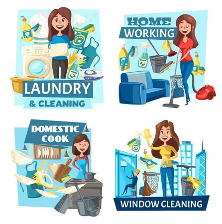Laundry and window cleaning, domestic cook and home working housekeeping service, vector. Cartoon woman cleaning room, washing and cook dinner. Housewife and household chores, cleaning equipment