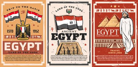 Egypt travels to land of Gods. Vector Pharaoh Ramesses temple, Abu Simbel religious building and muslim man in thawb or thobe, kandora or dishdasha. Falcon bird and Egyptian flag, deity signs