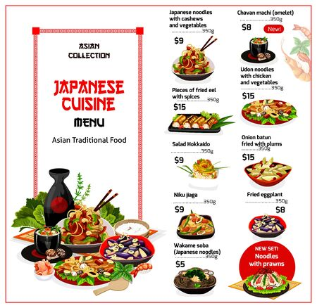 Japanese cuisine menu, asian food. Vector noodles, cashews and vegetables, chavan machi omelet, eel with spices, udon chicken. Salad, onion batun fried with plums, niku jaga, fried eggplant