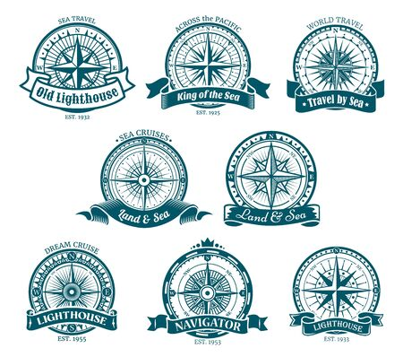 Wind rose navigation and orientation compass icons. Vector retro compass with directions South and West, North, East. Old lighthouse, world cruise travel, nautical cartography Иллюстрация