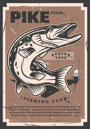 Pike trophy, fisher club competition vector. Freshwater fish and fishery gear equipment, fishing hobby sport tournament. Fishing league sporting event, vintage float bobber Illustration