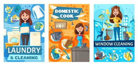 House and window cleaning, laundry and cooking. Vector housewife and washing machine, detergents and clean cloth, kitchen utensil. Household tools duster, detergents and gloves