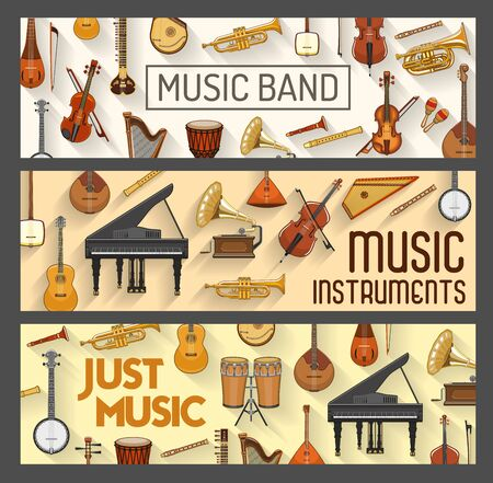 Music band, vector musical instruments. Violin and orchestra harp, piano and cymbals, maracas and saxophone. Trumpet and piano, contrabass, acoustic guitar, flute pipe, percussion ethnic drums