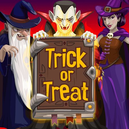 Halloween witch, dracula and wizard, trick or treat party vector. Horror night vampire, witch and evil magician with hats, potion and black magic spellbook. Halloween holiday monsters