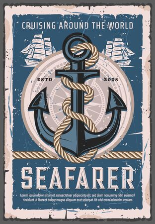 Seafarer sailings, nautical cruises and retro anchor with rope. Vector marine ship, sailboat trips. Ocean and sea adventure spirit, admiralty anchor with twined rope, naval element