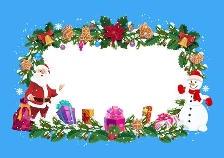 Frame for Christmas greeting card, vector. Santa Claus and snowman, gingerbread cookies and gift boxes, holy berry and cones. Jingle bell and cranberry, border of fir or spruce branches