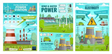 Energia, centrali eoliche e idriche, trasporti ecologici. Impianti di produzione di elettricità vettoriale, industria delle stazioni nucleari del generatore di tensione. Automobile elettrica di ecologia, ecosistema della natura del pianeta, ambiente