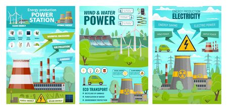 Energy, wind and water power plants, eco transport. Vector electricity production plants, voltage generator nuclear stations industry. Ecology electric car, planet nature ecosystem, environment