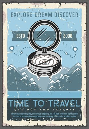 Retro navigation compass, time to travel, discover or explore dreams. Vector ancient nautical rouse of wind, round dial South and North, East and West. Mountain peaks and route, travelling adventure