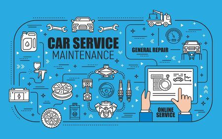 Car maintenance, general repair and online service spare parts. Vector. Vehicle diagnostics, evacuation and motor tuning, tire fitting. Battery charge, spanners and wrench, pumps and paintings