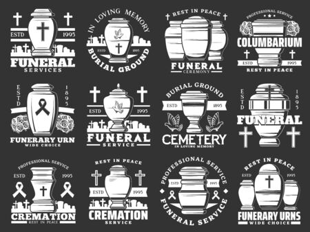 Cerimonia funebre e servizio di cremazione, cimitero e urne funerarie icone isolate. Agenzia di sepoltura vettoriale, colombario, croci e tombe. Iscrizioni di memoria, riposa in pace, RIP e colombe, cimitero