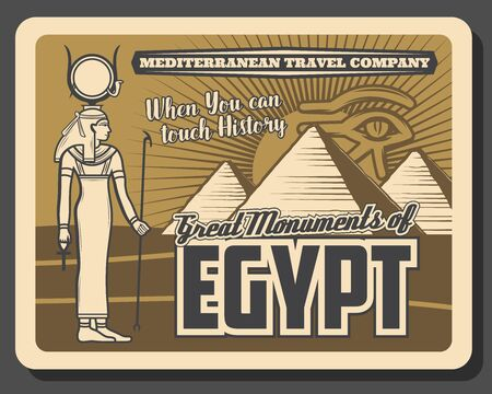Egypt monuments, pyramids and gods. Vector Horus eye and Amun Ra statue, travelling landmarks. Ancient egyptian pharaoh palace or temple, Egypt history and culture Stok Fotoğraf - 130447752