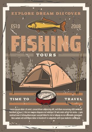 Fishing and travel tours, tourism. Vector camping tent and sport equipment, fishery rods, compass navigation tool. Tackles and fish, trees in forest and temporary hiking awning