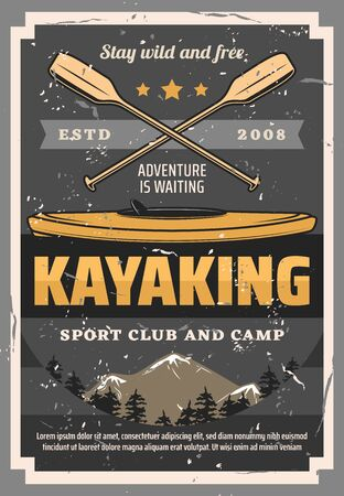 Kayaking sport, canoeing, rafting boat, crossed paddle summer sport. Vector paddling outdoors activity, kayaks vintage club and camp. Kayak diving, fishing and travel, whitewater and surf kayaking  イラスト・ベクター素材
