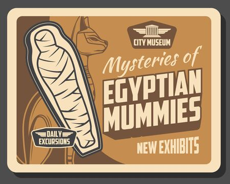 Egyptian mummies exhibition in museum, ancient Egypt history. Vector cat deity and exhibits of deceased human, mysteries of prehistoric times. City museum, religion, mythology and archeology