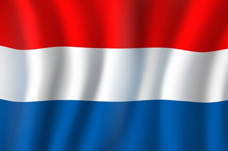Flag of Netherlands horizontal red, white and blue tricolor waving banner. Vector national flag of kingdom Netherlands, Holland. Independence day symbol, european country patriotic symbolic