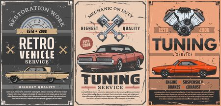 Retro vehicle tuning and restoration service. Vector mechanic on duty, car diagnostic and repair. Pistons porcer and auto engine, maintenance, suspension of brakes, exhaust and spare parts Çizim