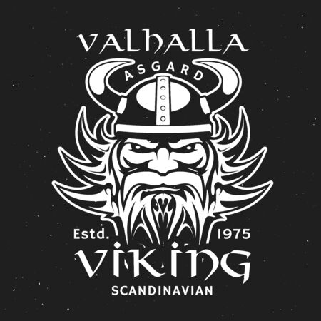 Scandinavian viking god Odin head in horned helmet, t-shirt print design. Vector Valhalla majestic, enormous hall located in Asgard, Norse mythology. , German warrior bearded man character
