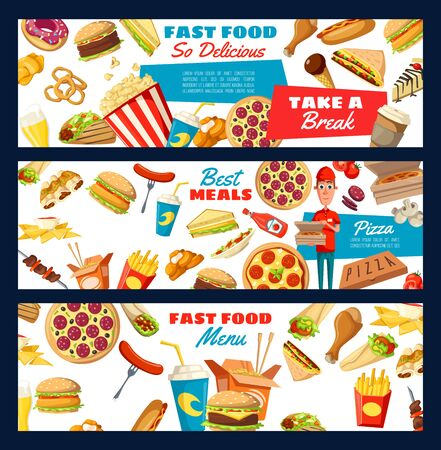 Fast food menu, snacks and drinks. Vector pizza, burger and sandwich, hot dog and soda. Pizza and snacks delivery man, popcorn, cheeseburger and hamburger, desserts and coffee, onion rings and nuggets