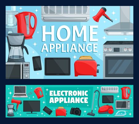 Home appliance, household items and equipment. Vector air conditioner and toaster, microwave oven and TV set, camera. Smartphone and kitchen blender, coffee kettle and vacuum cleaner, hair dryer