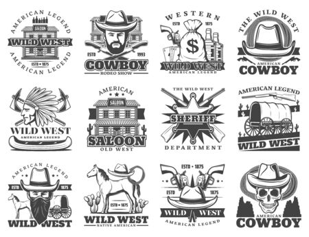 Wild West, cowboy and western isolated icons. Vector american legend saloon, sheriff department, revolver and pistol gun. Native Indian and horse, skull in hat, whiskey bottle and money bag, carriage