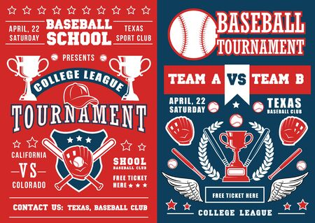 Baseball school tournament, bat and ball, champion trophy cup. Vector announcement poster, softball sporting items equipment. Catcher glove and prize with laurel branches 向量圖像