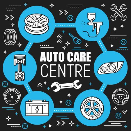 Car repair service, auto spare parts, vector design. Car diagnostic station, tire fitting, battery charge. Engine inspection, car painting, speedometer and wrench, wheel and key