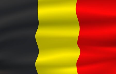 National flag of Belgium kingdom, tricolor of three vertical equal bands of black, yellow, and red. Vector Belgian triband, coat of arms, national european country official symbol, heraldry Ilustração
