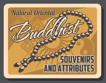 Buddhist souvenirs and attributes retro beads, yin yang sign and vector spirituality symbols. Buddhism religion, sunlight mandala flower. Asian culture, religious shop