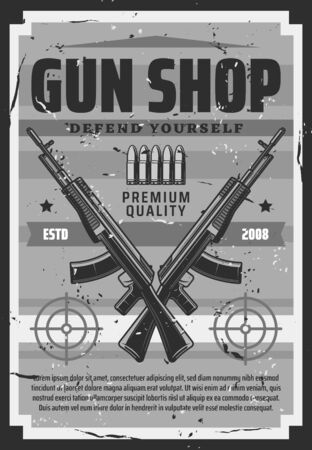 Gun shop, defend yourself retro ammunition store. Vector hunting equipment, shooting weapon, targets or aims and gunshot bullets. Vintage store sale rifles and revolvers, self defense and protection