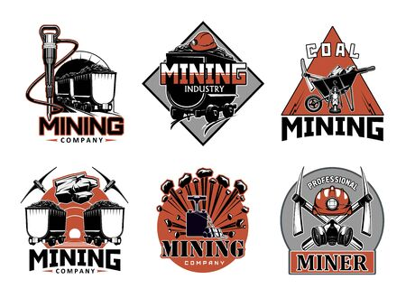 Mining industry, professional miner work tools isolated icons. Vector wheelbarrow and crossed picks, extraction of coal and metal, rock salt, precious stones. Carriage wagon with coal, miners helmet Foto de archivo - 130447777