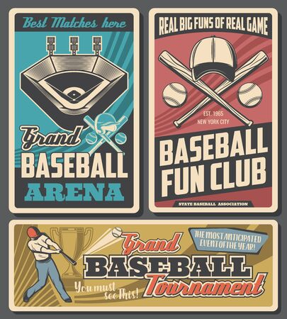 Baseball arena, sport game equipment and player, vector. Match cup game, player in uniform on stadium. Fan club, team, batter making hit in helmet