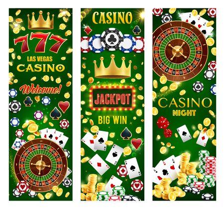 Casino gambling games, wheel of fortune and poker cards, lucky seven jackpot, roulette, dice and token chips, golden coins splash. Retro light bulb signage, joker golden crown, online casino