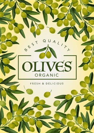 Olives frame, delicious green tree branches. Vector vegetarian food, organic natural product. Leaves and fruits of extra virgin olive, oil packaging label Иллюстрация