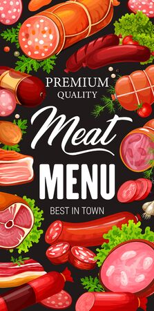 Vector pork and beef, lamb and bacon, meat shop products. Lettuce leaves and salami, gammon, pepperoni burger patty, wurst and frankfurter. Meat and sausages, frame of butchery food and greens Çizim
