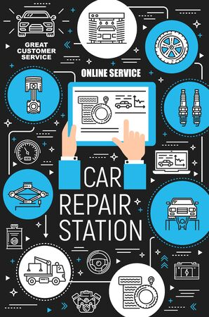 Car repair garage station vector icons. Vehicle diagnostics, maintenance, auto service center, spare parts. Tyre fitting, pumping and mounting, oil change and car wash, charger and tow truck Illustration
