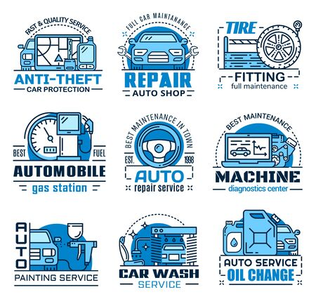 Repair service, car maintenance isolated icons. Vector anti-theft system, shop and tire fitting, fuel gas station, machine diagnostic center. Painting and washing, oil change service