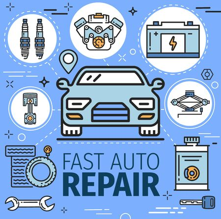 Fast car repair and tools. Vector engine diagnostics and battery charge, tire fitting and vehicle mounting, navigation system and oil change. Motor fixing and spanner wrench, exhaust spare parts