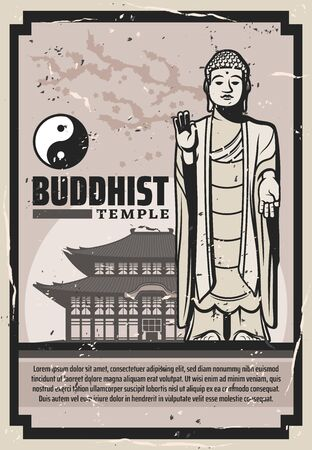 Buddhist holy temple, Buddha statue and yin yang. Vector Buddhism spiritual meditation symbols, monastery building. Worship place wat or pagoda, spiritual practices original teachings