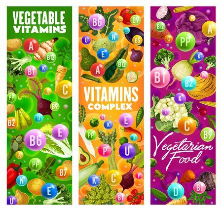 Comida vegetariana, vitaminas en verduras, brócoli y pimiento, remolacha y maíz, coliflor y ensalada. Vector de patata y berenjena, calabacín y guisante, colinabo y espárragos, zanahoria y tomate