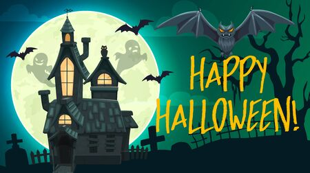 Halloween horror graveyard vector banner with ghosts, bats and haunted house, full moon, creepy tree and tombstones. Autumn holiday night monsters, party flyer or greeting card design